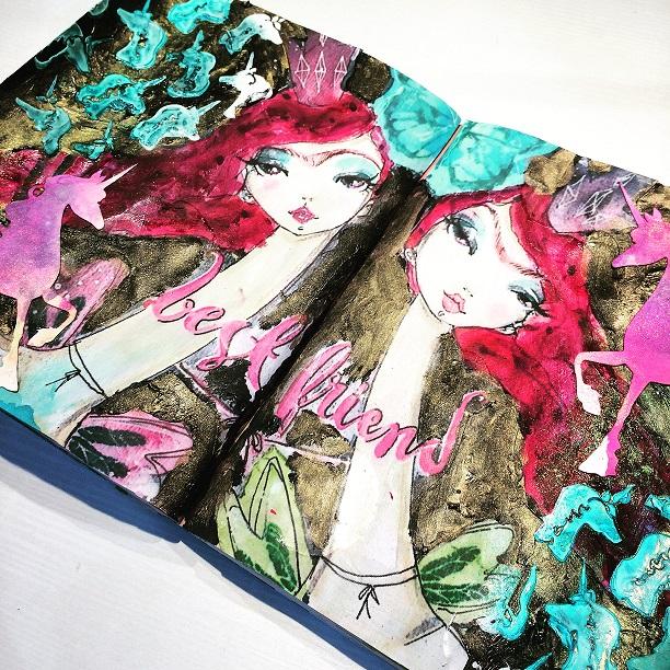 técnica collage en artjournaling art doodle love 1
